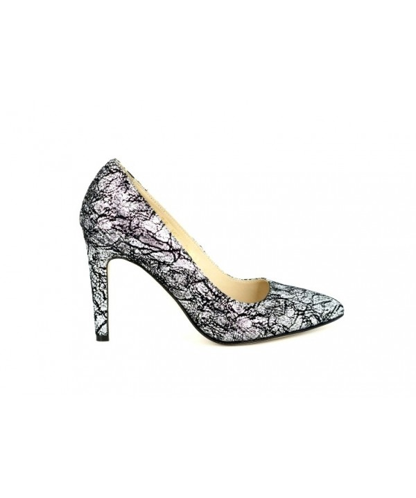 Pantofi piele guban argintii