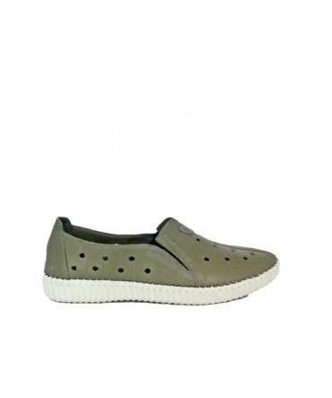 Pantofi  dama ANNA VIOTTI Kaki din piele naturala D4611