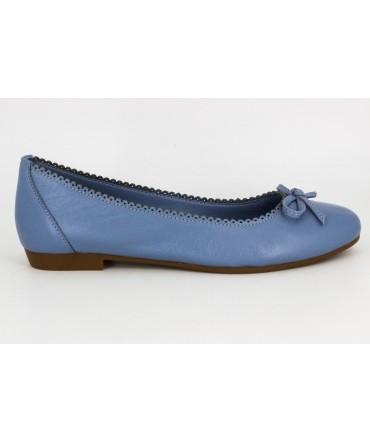 Balerini dama blu Anna Viotti din piele naturala