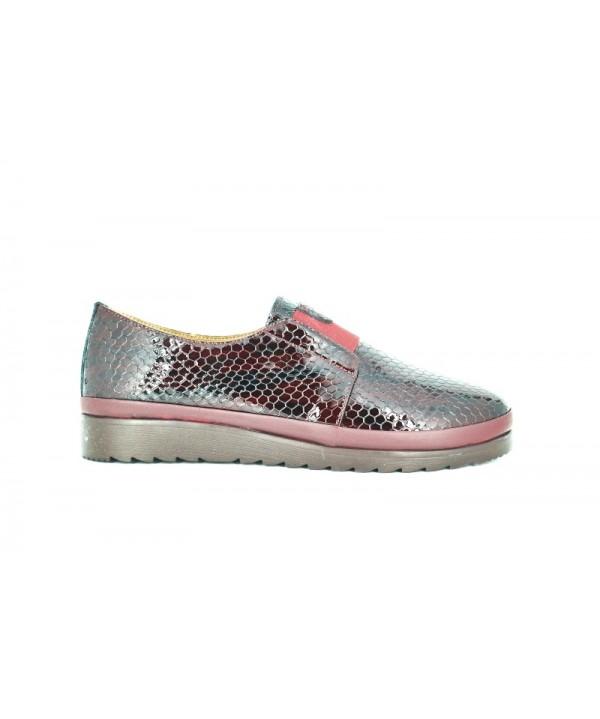 Pantofi dama Anna Viotti bordo croco din piele naturala