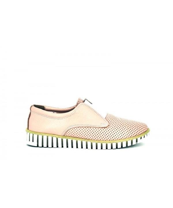 Pantofi dama casual Anna Viotti roz din piele naturala
