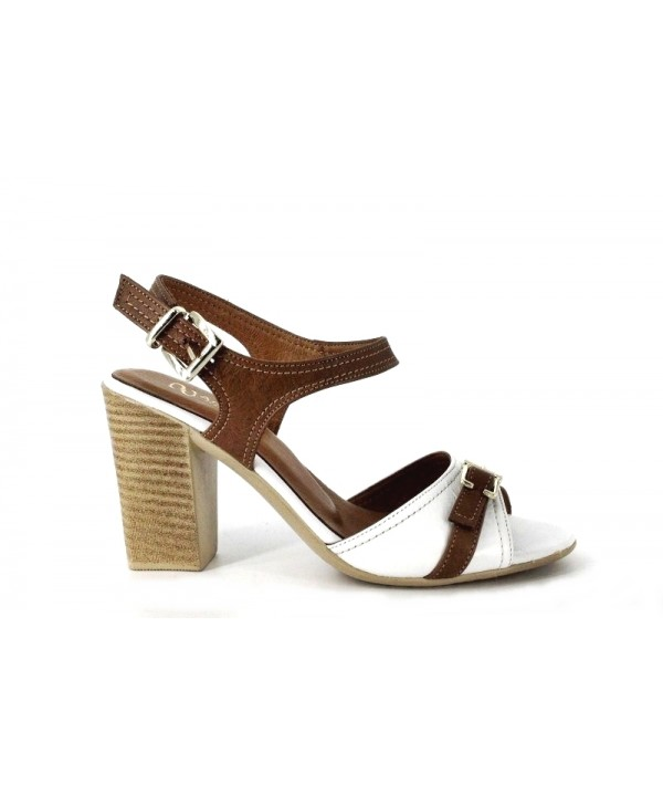 Sandale dama Anna Viotti alb-maro din piele naturala