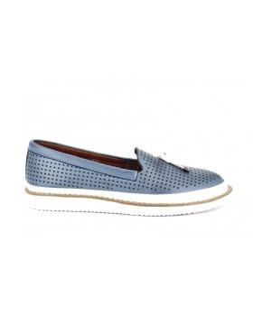 Pantofi casual dama Anna Viotti blu din piele naturala