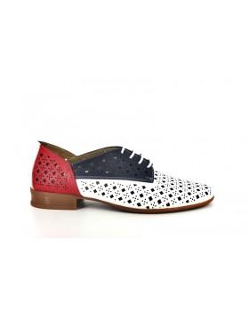 Pantofi dama Anna Viotti alb-blu-rosu din piele naturala
