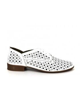 Pantofi dama Anna Viotti albi din piele naturala