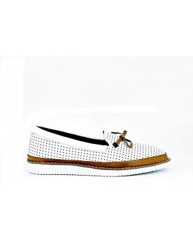 Pantofi casual dama Anna Viotti albi din piele naturala