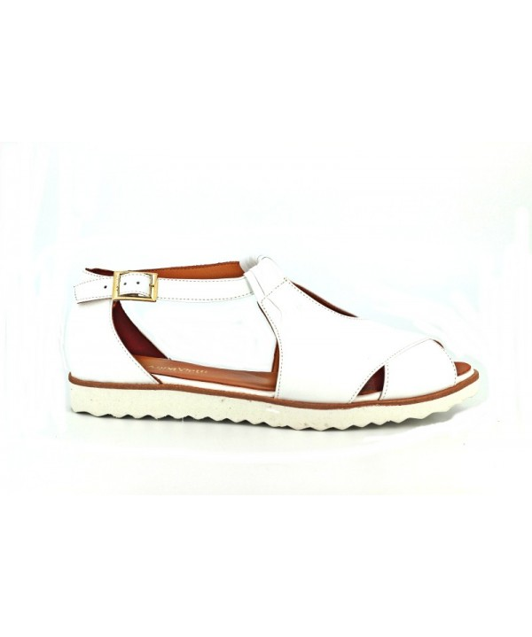 Sandale dama Anna Viotti albe din piele naturala