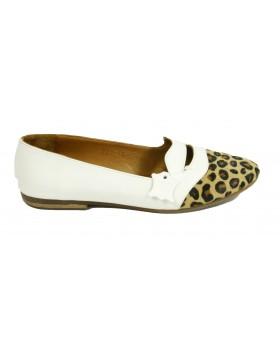 Pantofi casual albi din piele naturala si par de ponei