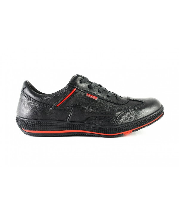 Pantof casual Bontimes negru din piele naturala de vitel- STOC O