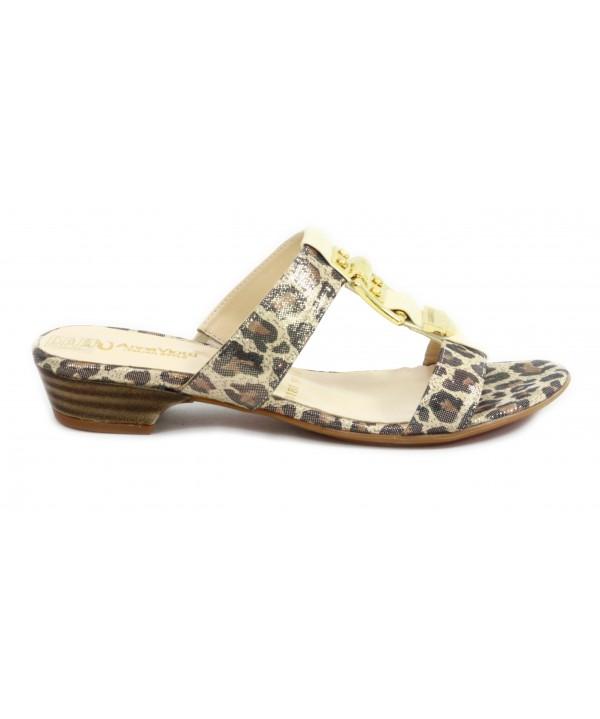 Saboti dama Anna Viotti din piele naturala, imprimeu leopard
