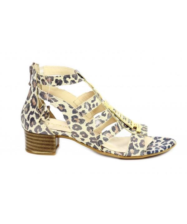 Sandale dama Anna Viotti din piele naturala, imprimeu leopard